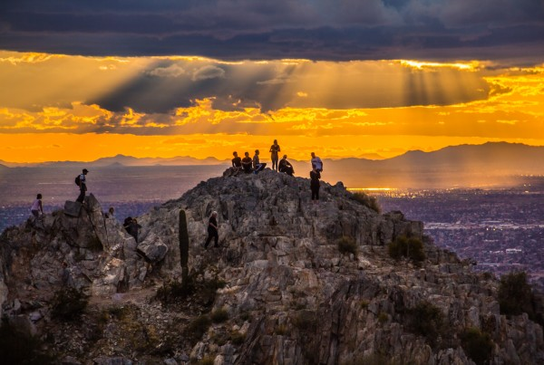 Piestewa Peak Hikers Aerial Photo