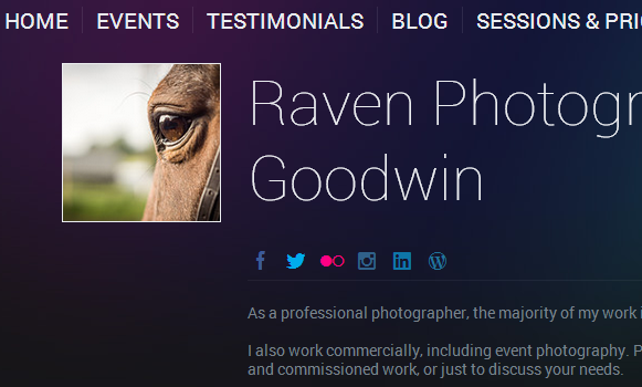 Raven Photography Website Screenshot